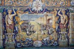 Plaza de Espana, Σεβίλλη, Ισπανία - διάσημη παλαιά διακοσμητική κεραμική Στοκ Εικόνες