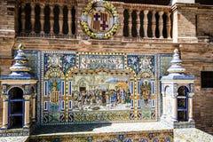 Plaza de Espana, Σεβίλλη, Ισπανία - διάσημη παλαιά διακοσμητική κεραμική Στοκ φωτογραφία με δικαίωμα ελεύθερης χρήσης