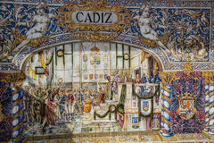 Plaza de Espana, Σεβίλλη, Ισπανία - διάσημη παλαιά διακοσμητική κεραμική Στοκ Φωτογραφία