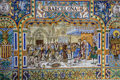 Plaza de Espana, Σεβίλλη, Ισπανία - διάσημη παλαιά διακοσμητική κεραμική Στοκ εικόνα με δικαίωμα ελεύθερης χρήσης