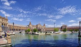 Plaza de Espana στη Σεβίλη, Ανδαλουσία Ισπανία στοκ εικόνες