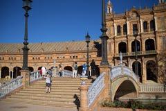 Plaza de Espana στη Σεβίλη χτίστηκε για το 1929 Exposicion ibero-αμερικανικό Στοκ Εικόνες