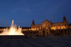 Plaza de Espana στη Σεβίλλη τη νύχτα Στοκ Εικόνες