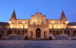 Plaza de Espana στο σούρουπο. Σεβίλη, Ισπανία Στοκ φωτογραφία με δικαίωμα ελεύθερης χρήσης