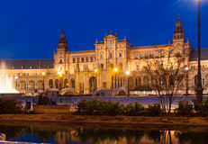 Plaza de Espana στο χρόνο βραδιού Σεβίλλη Στοκ Φωτογραφίες