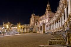 Plaza de Espana τη νύχτα, Σεβίλη Ισπανία Στοκ Εικόνες