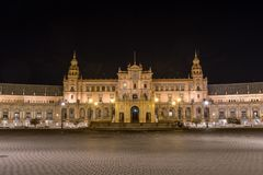 Plaza de Espana τη νύχτα, Σεβίλη Ισπανία Στοκ φωτογραφία με δικαίωμα ελεύθερης χρήσης