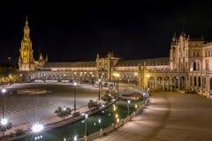 Plaza de Espana τη νύχτα, Σεβίλη Ισπανία Στοκ εικόνες με δικαίωμα ελεύθερης χρήσης