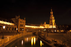Plaza de Espana τη νύχτα, Σεβίλλη Στοκ φωτογραφία με δικαίωμα ελεύθερης χρήσης