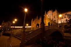 Plaza de Espana τη νύχτα, Σεβίλη Στοκ φωτογραφία με δικαίωμα ελεύθερης χρήσης