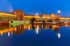 Plaza de Espana τη νύχτα στη Σεβίλη, Ισπανία Στοκ Φωτογραφίες