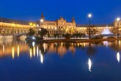 Plaza de Espana τη νύχτα στη Σεβίλη, Ισπανία Στοκ φωτογραφίες με δικαίωμα ελεύθερης χρήσης