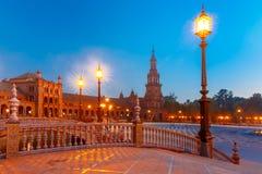 Plaza de Espana τη νύχτα στη Σεβίλη, Ισπανία Στοκ φωτογραφία με δικαίωμα ελεύθερης χρήσης