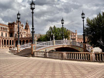 Plaza de Espana. Square building with bricks and tiles, fountains and bridges Royalty Free Stock Photography