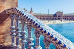 Plaza de Espana Balustrad detalj, Sevilla, Spanien arkivbild
