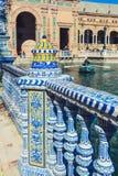 Plaza de Espana Balustrad detalj, Sevilla, Spanien royaltyfri bild