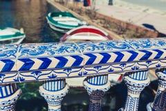 Plaza de Espana Balustrad detalj, Sevilla, Spanien arkivfoton