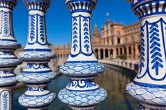 Plaza de Espana Balustrad detalj, Sevilla, Spanien Royaltyfri Fotografi