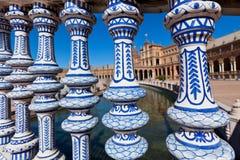 Plaza de Espana Balustrad detalj, Sevilla, Spanien Royaltyfri Foto