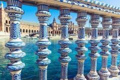 Plaza de Espana Balustrade Detail, Sevilla, Spain. (Seville, Plaza de Espana royalty free stock photos