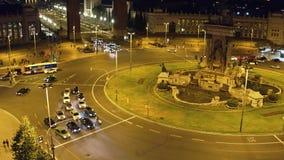 Plaza de Espana a Barcellona alla notte archivi video