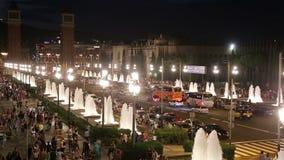 Plaza de Espana. BARCELONA, SPAIN - JULY 24, 2016: Night view of Plaza de Espana with Venetian towers. Barcelona, Spain stock footage