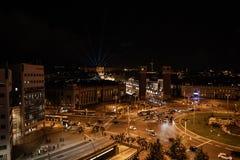 Plaza de Espana in Barcelona, top view at night, traffic lights royalty free stock photo