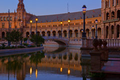 Plaza DE Espana bij nacht, Sevilla, Spanje Royalty-vrije Stock Afbeelding