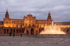 Plaza DE Espana bij schemer Royalty-vrije Stock Foto's
