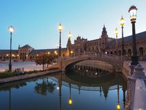 Plaza de Espana in Sevilla At Night Stock Image