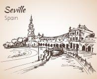 Plaza de Espana Croquis de ville Séville de l'Espagne Photographie stock libre de droits