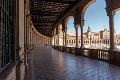 Plaza De Espana At Daylight, Seville Spain Stock Photo