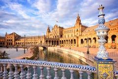 Plaza de Espana (den Spanien fyrkanten) i Seville, Andalusia royaltyfri bild