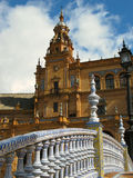 Plaza de Espana. A detail of the Plaza de Espana in the Maria Luisa Park, Seville, Spain showing a tiled bridge in the foreground Royalty Free Stock Photography