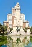Plaza de Espana eller Spanien fyrkant i Madrid med monumentet till Cervantes Royaltyfri Fotografi