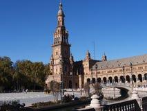 Plaza de Espana em Sevilha foi construída para o Exposicion 1929 Ibero-referente à cultura norte-americana Imagem de Stock Royalty Free