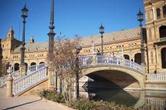 Plaza de Espana em Sevilha foi construída para o Exposicion 1929 Ibero-referente à cultura norte-americana Fotos de Stock Royalty Free