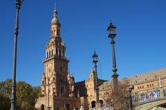 Plaza de Espana em Sevilha foi construída para o Exposicion 1929 Ibero-referente à cultura norte-americana Imagens de Stock