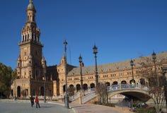 Plaza de Espana em Sevilha foi construída para o Exposicion 1929 Ibero-referente à cultura norte-americana Fotografia de Stock