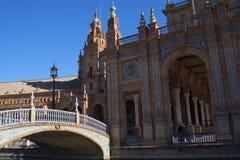 Plaza de Espana em Sevilha foi construída para o Exposicion 1929 Ibero-referente à cultura norte-americana Fotografia de Stock Royalty Free