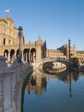 Plaza de Espana en Sevilla en la puesta del sol Foto de archivo