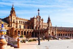 Plaza de Espana en tiempo del día en Sevilla Imagen de archivo libre de regalías
