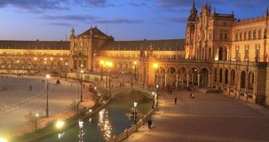 Plaza de Espana in the evening in Seville stock video footage