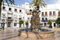 Plaza de Espana fountain, Vejer de la Frontera, Spain stock photos