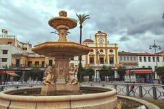 Plaza de Espana fyrkant, Merida Arkivfoton