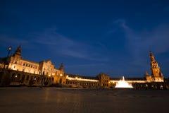Plaza de Espana i Sevilla på natten Fotografering för Bildbyråer
