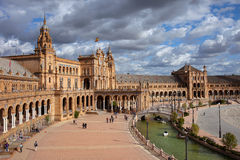 Plaza de Espana i Seville Arkivbilder