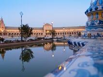 Plaza de Espana i Seville på natten Fotografering för Bildbyråer