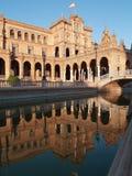Plaza de Espana i Seville på solnedgången Fotografering för Bildbyråer