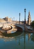 Plaza de Espana i Seville på solnedgången Arkivbilder
